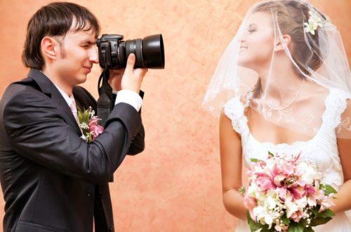 newlyweds taking photos